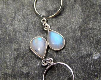 Moonstone earrings, moonstone bezel jewelry, bezel set moonstone, genuine moon stone