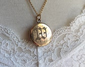 Antique Locket, Simple Round Locket with Initial W, Gold Filled, Wedding Locket, Gift for Her
