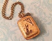 Antique Victorian Sailboat Locket, Labradorite Dangle, Black Enamel, 1800's, Wedding Locket, Gift for Her
