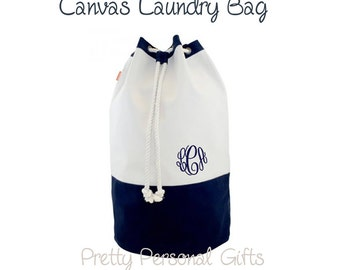 Canvas Laundry Bag - Monogrammed - Navy Canvas Laundry Tote