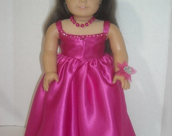 "American Girl 18"" Doll Clothes  Magenta Pink Princess Gown and Accessories"