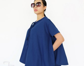 NO.196 Blue Cotton Jersey Boat Neck Tee, Asymmetric Loose T-Shirt, Women's Top