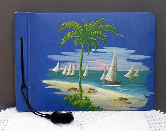 Sailboats Photo Album / Scrapbook . Hand Painted Cover Art . Vintage Souvenir from Ceara Brazil .