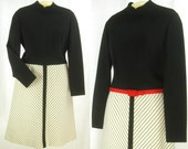 Vtg 60s – 70s ~R and K Knits~ Solid & Stripe LS poly Dress   L-XL