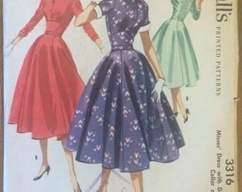 UNCUT Vintage 1950's Dress Pattern McCall's 3316 -Detachable Collar- Full Skirt- Rockabilly- Mad Men Style