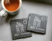 Design Your Own: Home Sweet Home OR Address Slate Coasters (Set of 4) Housewarming, Wedding, Moving, Christmas