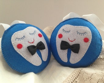 Boys Tooth Fairy Pillow Personalized Tooth Fairy pillow Blue tooth pillow Round tooth pillow Gift Hanging tooth fairy pillow