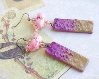 Pink Purple Ceramic Bird earrings Leaf earrings Nature Woodland Autumn Jewelry Cute Polymer Clay Best selling Top seller Popular items