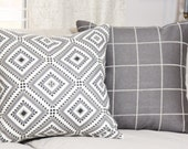 Martyn Lawrence Pillow Cover - Gray Black & White Geometric Pillow Cover - Cornelius Linen Pillow Cover - Grey Diamond Throw Pillow