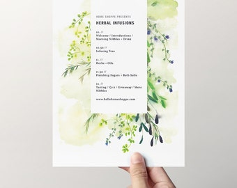 Kinfolk Herbal Infusions Itinerary - custom designed workshop material