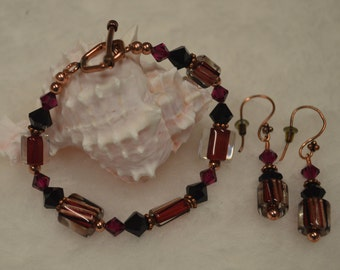 Copper Bracelet and Matching Earrings