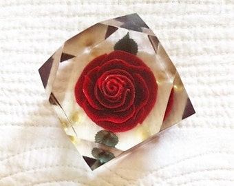 Vintage Shabby Chic Crimson Red Rose Paperweight, Romantic Home, Olives and Doves