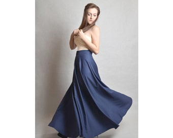 Maxi skirt with double ended side zip, navy poly-cotton
