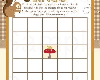 Woodland Friends Forest Animals Theme Baby Shower Bingo Game - Printable File