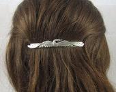 SWAN BARRETTE- Silver Barrette- slide barrette- Swan Hair Accessory- Barrettes and Clips