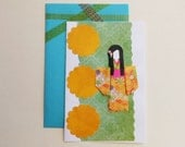 Origami Card - Japanese Greeting Card - Oriental Paper Doll Card - Chiyogami Paper - Handmade Greeting Card - All Occasions - Blank Inside