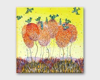 Original painting on canvas Art Small landscape art Acrylic Small canvas painting Wall art canvas Yellow Fantasy art Tree fantasy painting