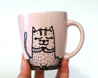 Yoga cats Original cat painting yoga Hand painted cat art cup Exercise animal mug Rose cat painting cup Funny cat art mug Kids cup Gift idea