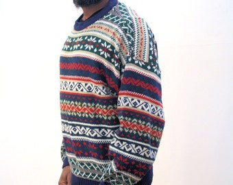 90s Cosby Sweater, Pullover Knit Snowflake Jumper, Coogi Style Sweater, Men's Sweater XL