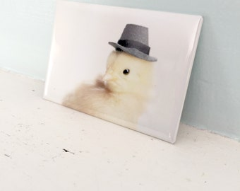 Chicks in Hats Chicken Wearing A Gray Hat Party Baby Bird Magnet
