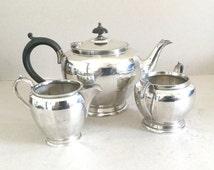 Silver plate tea set, Vintage teapot, Sugar bowl, Creamer, Sugar pot, Milk jug, Black ebonised wooden handle Finial, Art Deco tea set