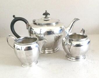 RESERVED Silver plate tea set Vintage teapot, Sugar bowl, Creamer, Sugar pot Milk jug, Black ebonised wooden handle Finial, Art Deco tea set