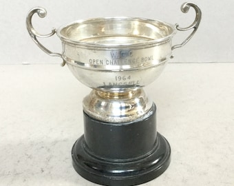 Vintage silver plated trophy cup, 1964 Challenge Cup, Sports trophy cup Bowling trophy cup, Award, Loving cup