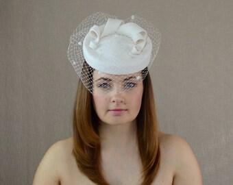 Cream Bridal Hat with Birdcage Veil - White Fur Felt Porkpie Hat - Cream Wedding Hat - Christening Hat - Mother of the Bride Hat