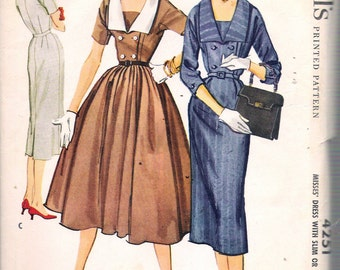 "Vintage 1957 McCall's 4251 Misses' Dress with Slim or Full Skirt Sewing Pattern Size 12 Bust 32"" UNCUT"
