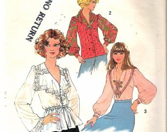 Vintage 1976 Simplicity 7766 Misses Blouses Sewing Pattern Size 12  Bust 34""