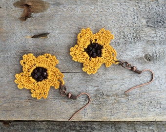 Flower Earrings, Mustard Boho Earrings, Crochet Earrings, Oya Beaded Earrings, Beadwork Earrings, Crochet Jewelry, Yellow Dangle Earrings