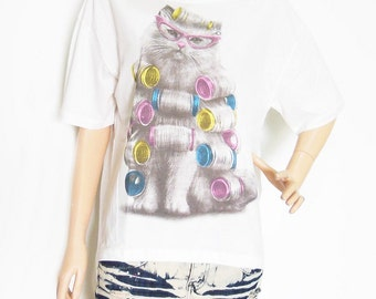 Cat Shirt New Fashion Cute Cat I Like Cat Art Shirt Animal Style Front Short Than White T-Shirt Crop Top Tee Shirt Screen Print Size L