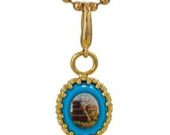 Antique Micro Mosaic 14k Charm Pendant Necklace
