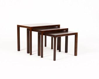 Danish Modern / Mid Century Vintage Rosewood Nesting Tables — Set of Three — Kai Kristiansen