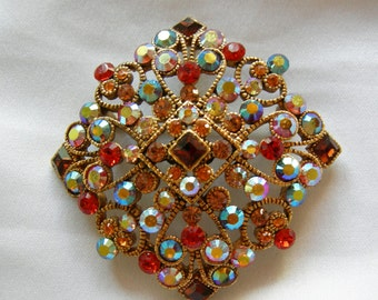 Signed JOAN RIVERS Multi Color Brooch | Gold Tone Topaz Red, Aurora Borealis | Vintage