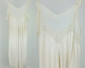 Vintage White Satin and Lace Slip Dress / Medium