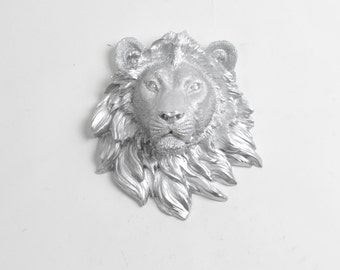 The Granby - Silver Mini Resin Lion Head - Resin White Faux Taxidermy- Chic & Trendy