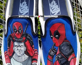 Deadpool and Colossus. Definitely a custom painted shoe with attitude! Vans Converse or Toms for Men, Women and children. Quotes optional