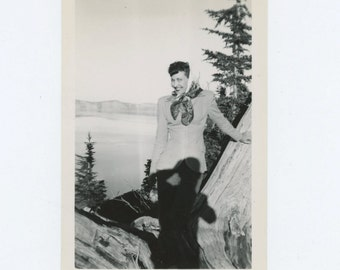 Young Woman at Crater Lake, OR; Photographer Shadow, c1940s Vintage Snapshot Photo (66478)