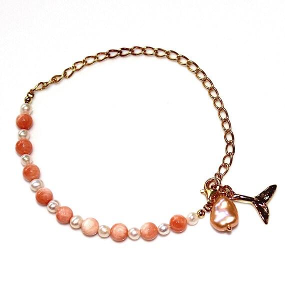 Angelskin Coral Bracelet Charm Bracelet Gold Chain Bracelet Whale Tail Bracelet Stacking Bracelet FizzCandy Gemstone Jewelry Precious Gem