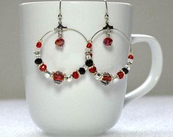 Red & Black Hoop Earrings: Extra Large Beaded Hoop Earrings, Nickle-Free Earwires, Handmade in the USA, Red and Black Fan Earrings