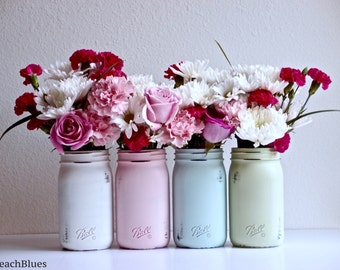 Winter Table Numbers Rustic Wedding Centerpiece Painted Mason Jars Smooth Sided Ball Vase Table Decor Table Numbers
