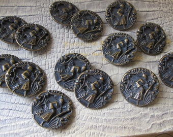 Asian Styled Art Deco Age Story Picture Japanese Geisha Lady Figural Buttons. 14 Buttons. Oriental Asian Japan Style Sewing Buttons Supply
