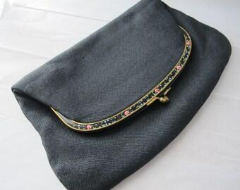 "COBLENTZ designer ""fold over"" clutch handbag purse/ Black Raffia, Hand Painted Flower Metal Frame/ Day to Night Evening Wear/ Party Fashion"
