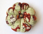 HORSE Pincushion Brown Green fabric. Great for a sewing gift - Round Cushion for pins. Double Sided Horses. Pins holder