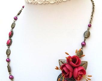 Flower Necklace, Statement Necklace, Purple Necklace, Romantic Necklace, Wedding Necklace, Flower Jewelry, Handmade Necklace, Purple Jewelry