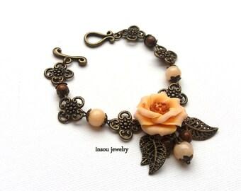 Flower Bracelet, Wedding Bracelet, Flower Accessories, Charm Bracelet, Romantic Jewelry, Anemone, Windflower, Wedding Jewelry, Gift For Her