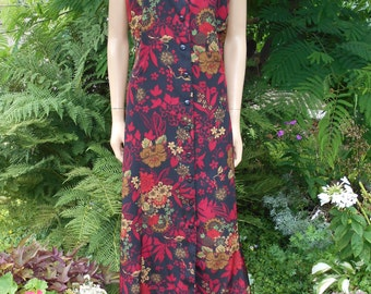 Danny & Nicole Antique Ruby Flower Print Dress, Sleeveless, Flowing Princess Cut Midi Length, Polyester, Front Button, Size 14W