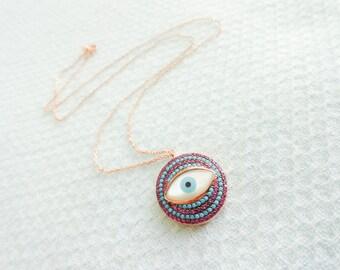 Nano turquoise necklace, silver evil eye necklace, pink and turquoise jewelry, turkish eye necklace 925k silver jewelry best friend birthday