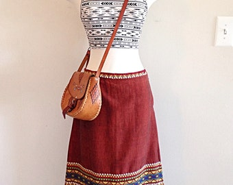 Vintage Red Hand Woven Embroidered Guatemalan Tribal Ethnic Skirt